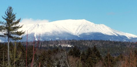 Maine's majestic Mount Katahdin as seen from ITS 86. Note the snow blowing off the summit